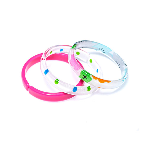Bracelets Mix - Pink + Colorful Dots + Floral Print