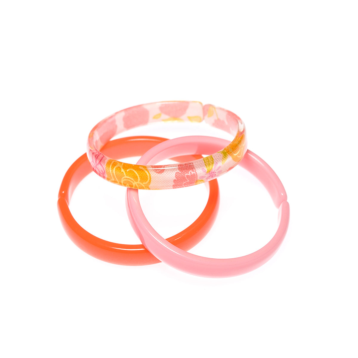 Bracelets Mix - Neon Orange + Light Pink + Floral Print -  Lilies & Roses NY
