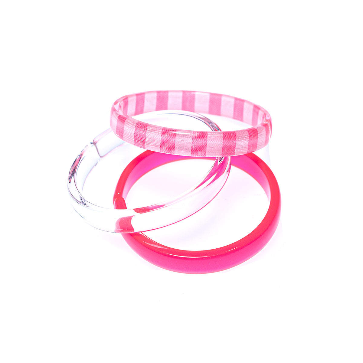 Bracelets Mix - Neon Pink + Clear + Pink Stripe -  Lilies & Roses NY