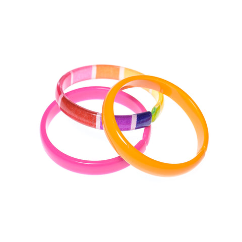 Bracelets Mix - Pink + Orange + Colorful Stripes