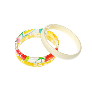 Bracelets Mix - Yellow Print + Tropical Print + Cream -  Lilies & Roses NY