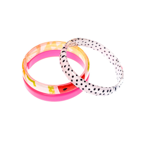 Bracelets Mix - Pink + Black Dots + Fruits Print