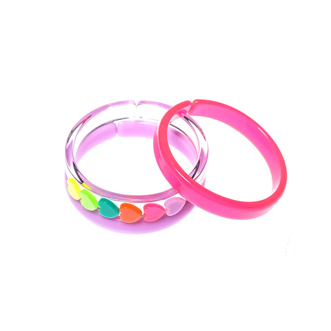 Bracelets Mix - Neon Pink + Hearts + Purple