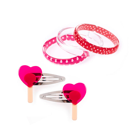 Lollipop Heart Hair Clips + Pink Red Polka Dots Mix Bangles Bundle