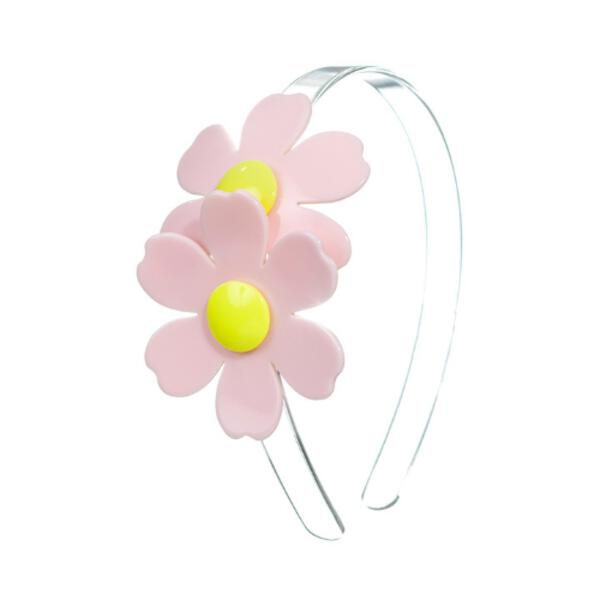 Light Pink Double Daisies on Clear Headband