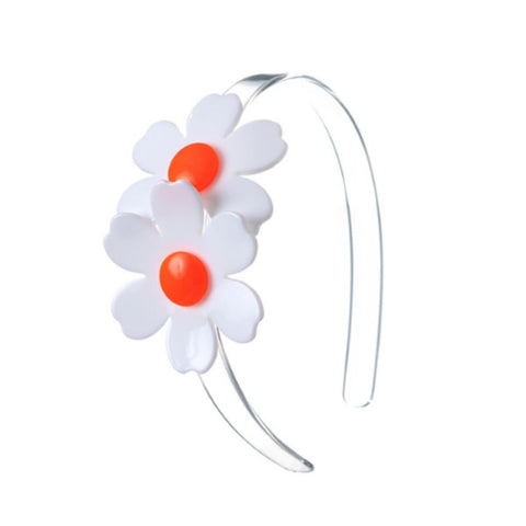 White Double Daisies Headband - Orange Accent