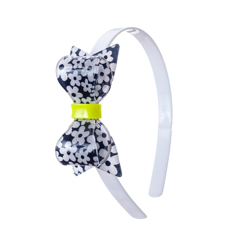 Fat Bow Headband - Lime Neon Detail