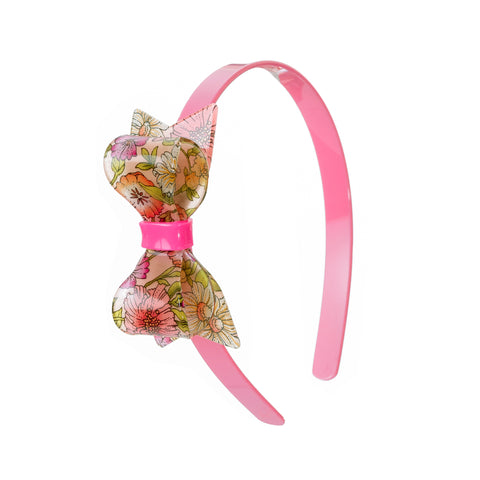Statement bow headband flower print
