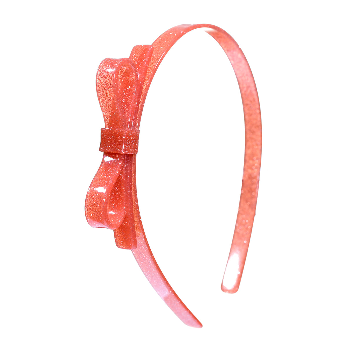 Thin Bow Headband - Coral Glitter