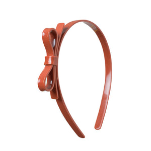 Thin Bow Headband - Brown