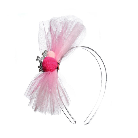 Tulle Bow with Pompom & Crown Headband