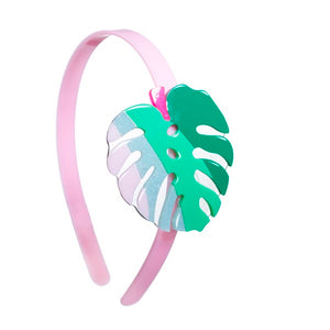 Tropical, leaf headband, palm, green, pink, colorful, hair accessories