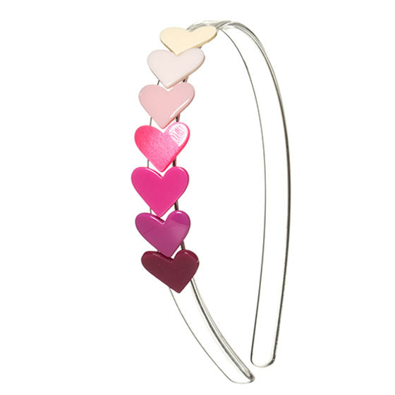 Headband with string of seven multicolor hearts. red, pink, cream, solid color