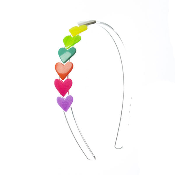 Headband with string of seven multicolor hearts. neon pink,  bright red, purple, neon orange, neon green, lime