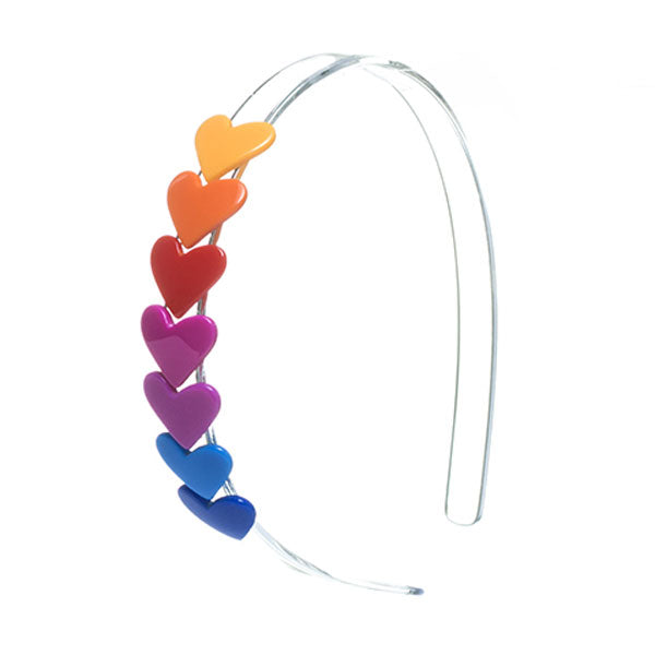 Headband with string of seven multicolor hearts. pink, red, blue, orange