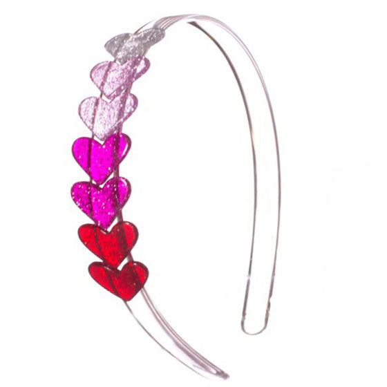These heart headbands add fun style and lots of color to any hair with a string of colorful hearts for any outfit. In solid colors or glitter styles.