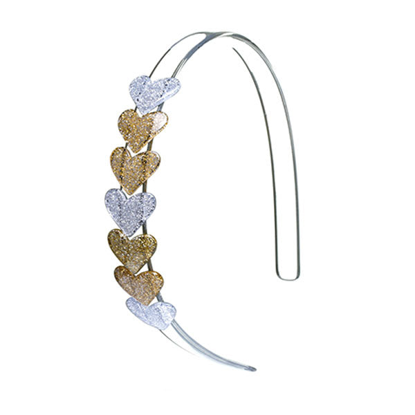 Headband with string of seven hearts. Mix of glitter gold and silver.