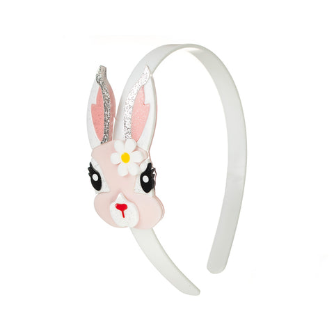 Pink Easter Bunny Headband with Flower
