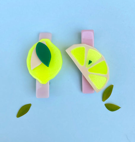 Lemon + Slice Lemon Hair Clips -  Lilies & Roses NY