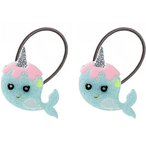 Narwhal, hair ties, cute, ocean, blue, pink, glitter, animals