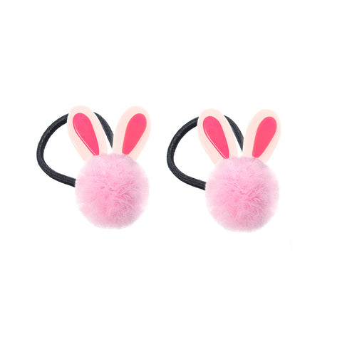 Pompom Bunny Ears Light Pink Hair Ties