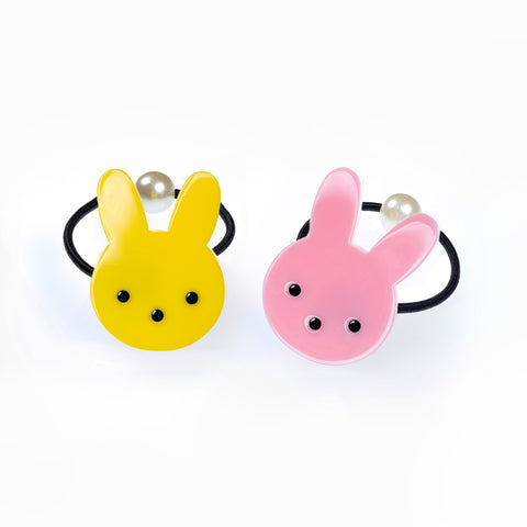 Easter Bunny Yellow Pink Ponytail (Pair)