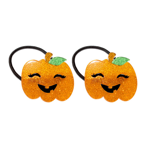 Pumpkin Halloween Orange Glitter Ponytail