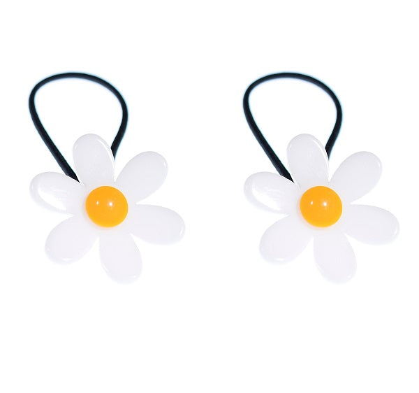 Daisy, flowers, ponytails, hair ties, hair accessories, yellow, bright