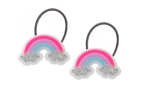 Rainbow ponytails, hair ties, neon pink, purple, blue, glitter, silver, clouds