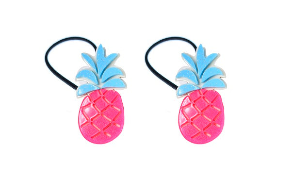 Pineapple, fruit, ponytails, hair ties, hair accessories, neon pink, blue