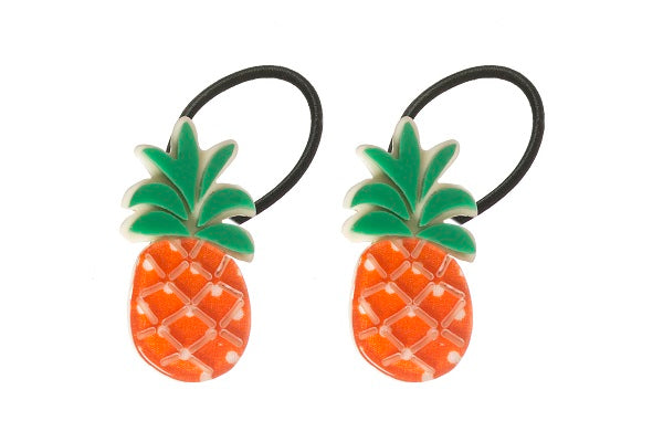 Pineapple, fruit, ponytails, hair ties, hair accessories, orange, white, dots