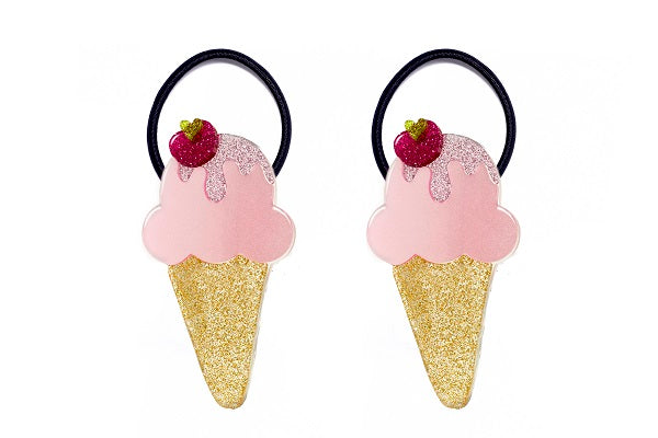 Ice cream, ponytail, hair ties, cone, pink, glitter, gold sprinkles