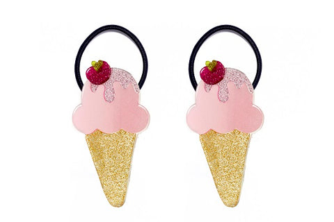 Ice Cream Ponytails - Pink Satin -  Lilies & Roses NY