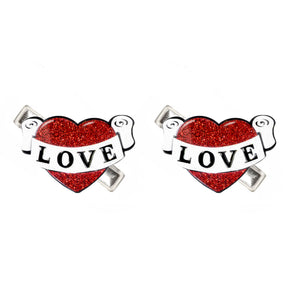 Vintage Heart Alligator Clips