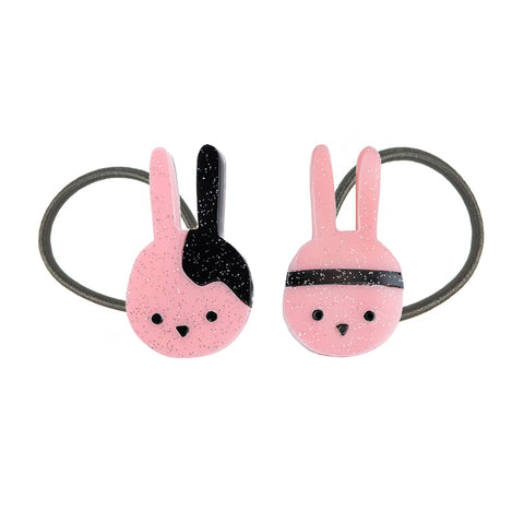 Bunny Glittery Light Pink Hair Ties