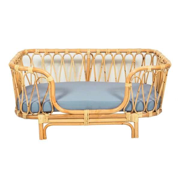 Anjing bamboo rattan dog bed with mattress