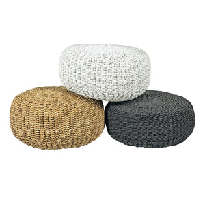 seagrass contemporary pouf in black natural and white colours