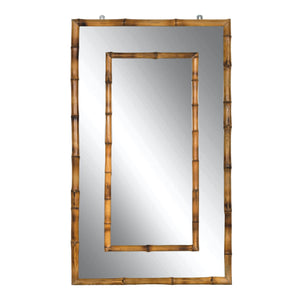 Bamboo rectangular double framed mirror