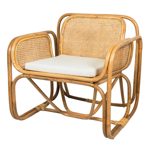 Bamboo and rattan chair with cushion seat, based on the Jan Bocan classic