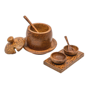 Coconut Wood Salt and Pepper Bowls