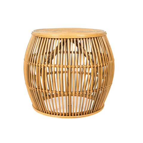 Garis striped bamboo side table in natural