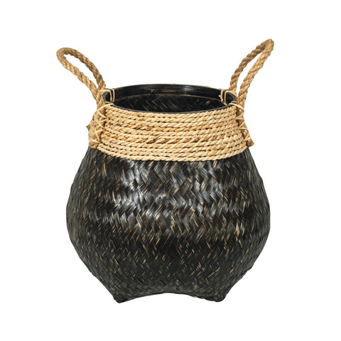 Black kapal urn shaped woven bamboo basket with woven rope detail at the top and rope handles