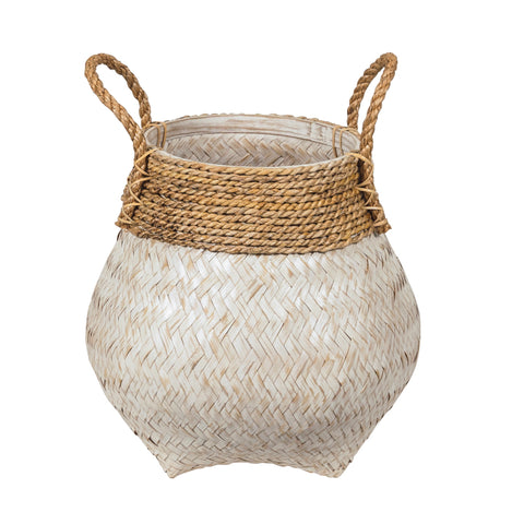 White kapal urn shaped woven bamboo basket with woven rope detail at the top and rope handles.  Shown in 3 sizes.