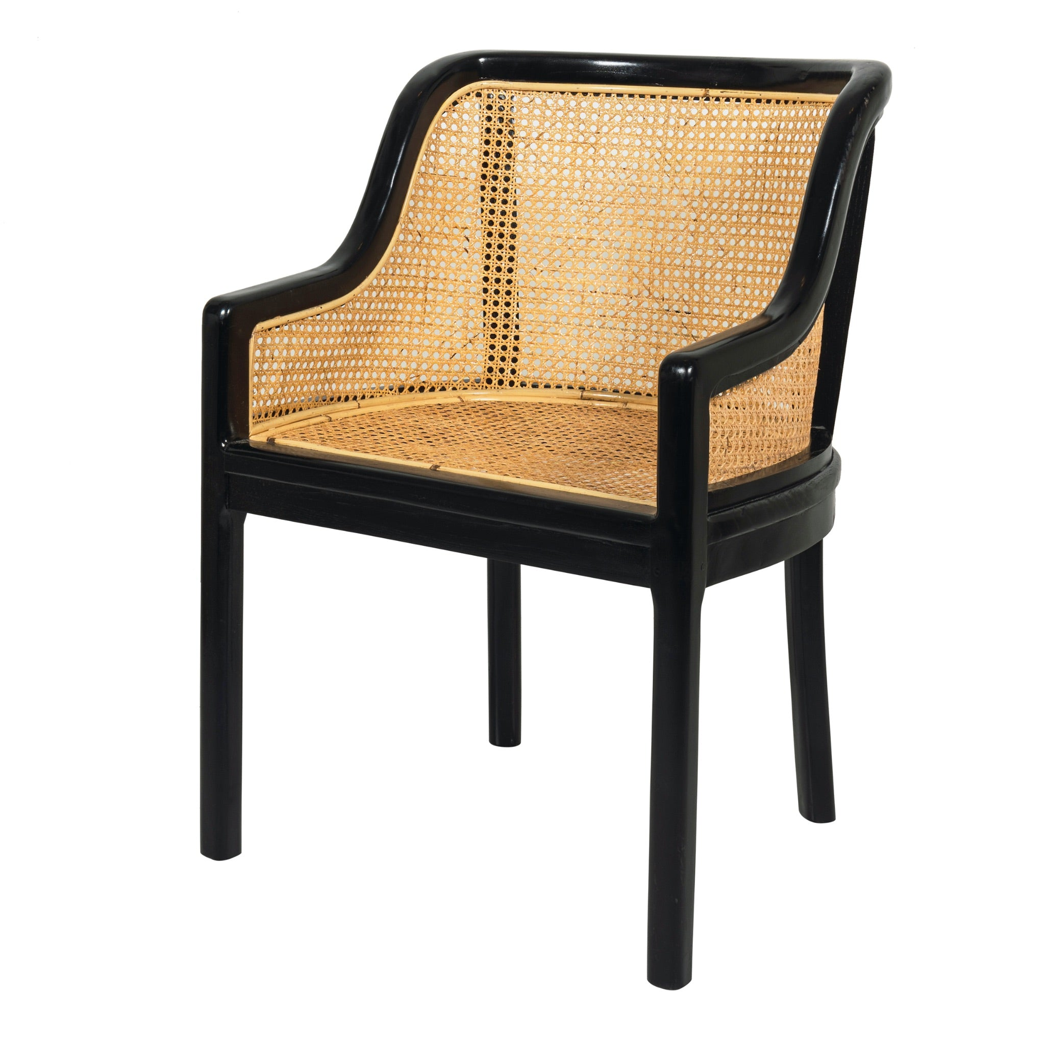 Black teak and woven rattan dining or occasional chair. Rattan on seat and back. classic colonial design