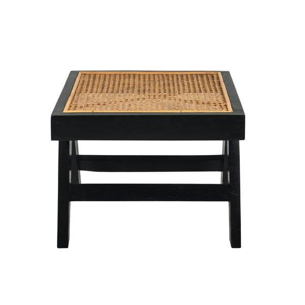 black teak and rattan square side table or stool. Based on the mid century design classic of Pierre Jeanneret