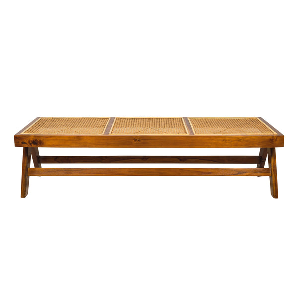 Teak and rattan long bench. Based on the mid century design classic of Pierre Jeanneret