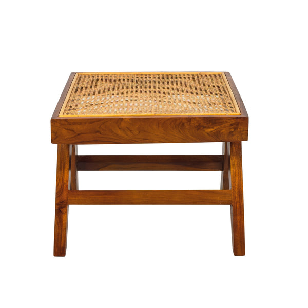 Teak and rattan square side table or stool. Based on the mid century design classic of Pierre Jeanneret