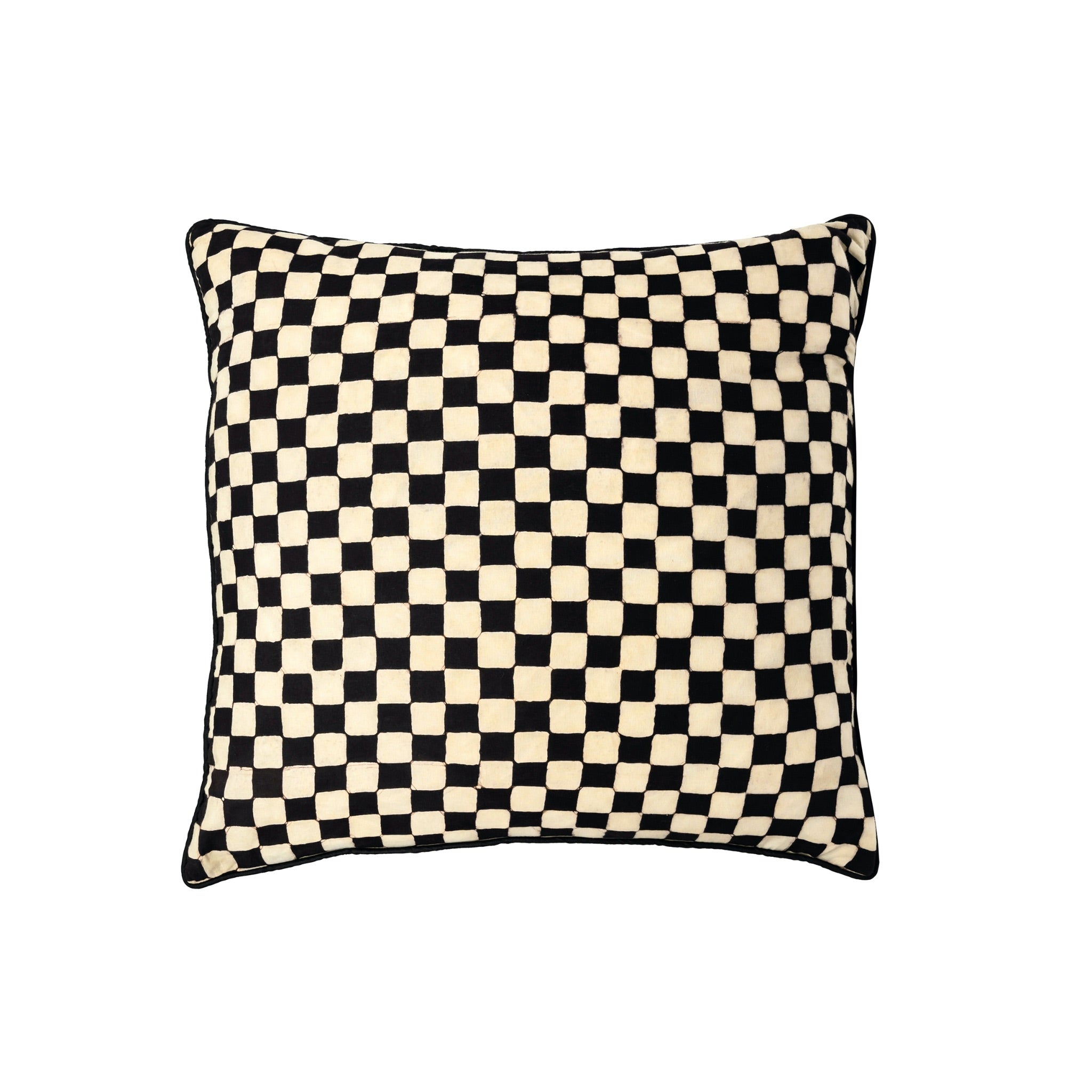 Handmade contemporary batik black and white cushion covers. Five designs - Stripes, check big and small, trellis and dots