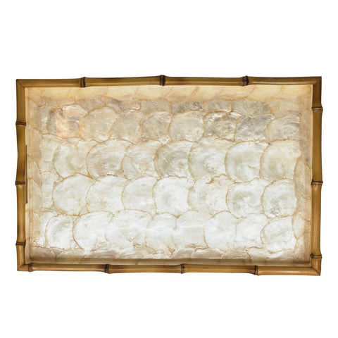 Tiram Capiz and Bamboo Rectangular Tray