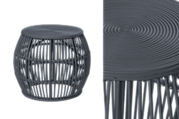 Garis striped bamboo side table in black